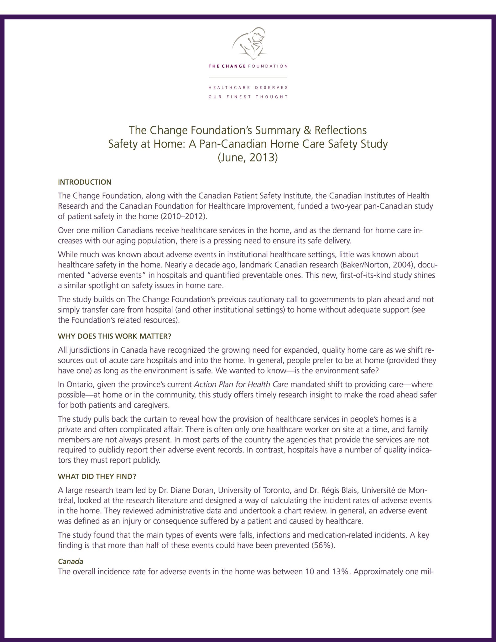 Foundation Partners & Reflects on Ground Breaking Home Care Safety Study