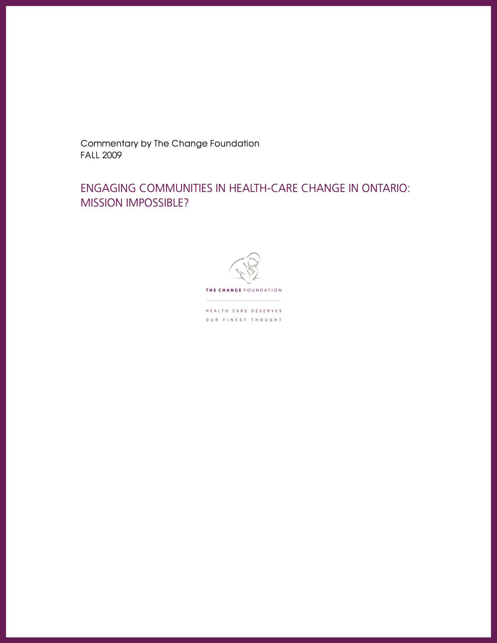 """Cover page of """"Engaging Communities in Health-Care in Ontario"""""""