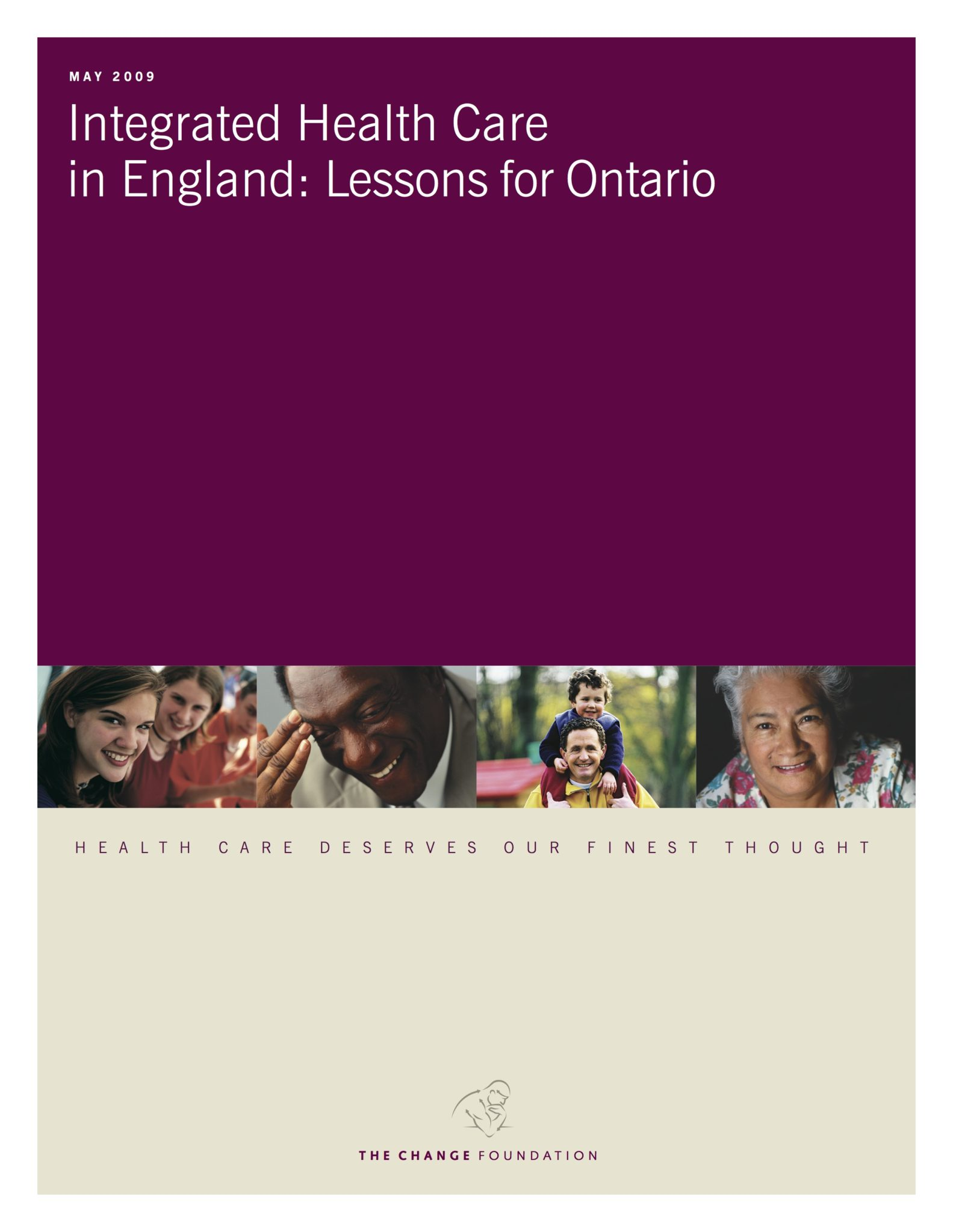 """Cover page of """"Integrated Health Care in England: Lessons for Ontario"""""""