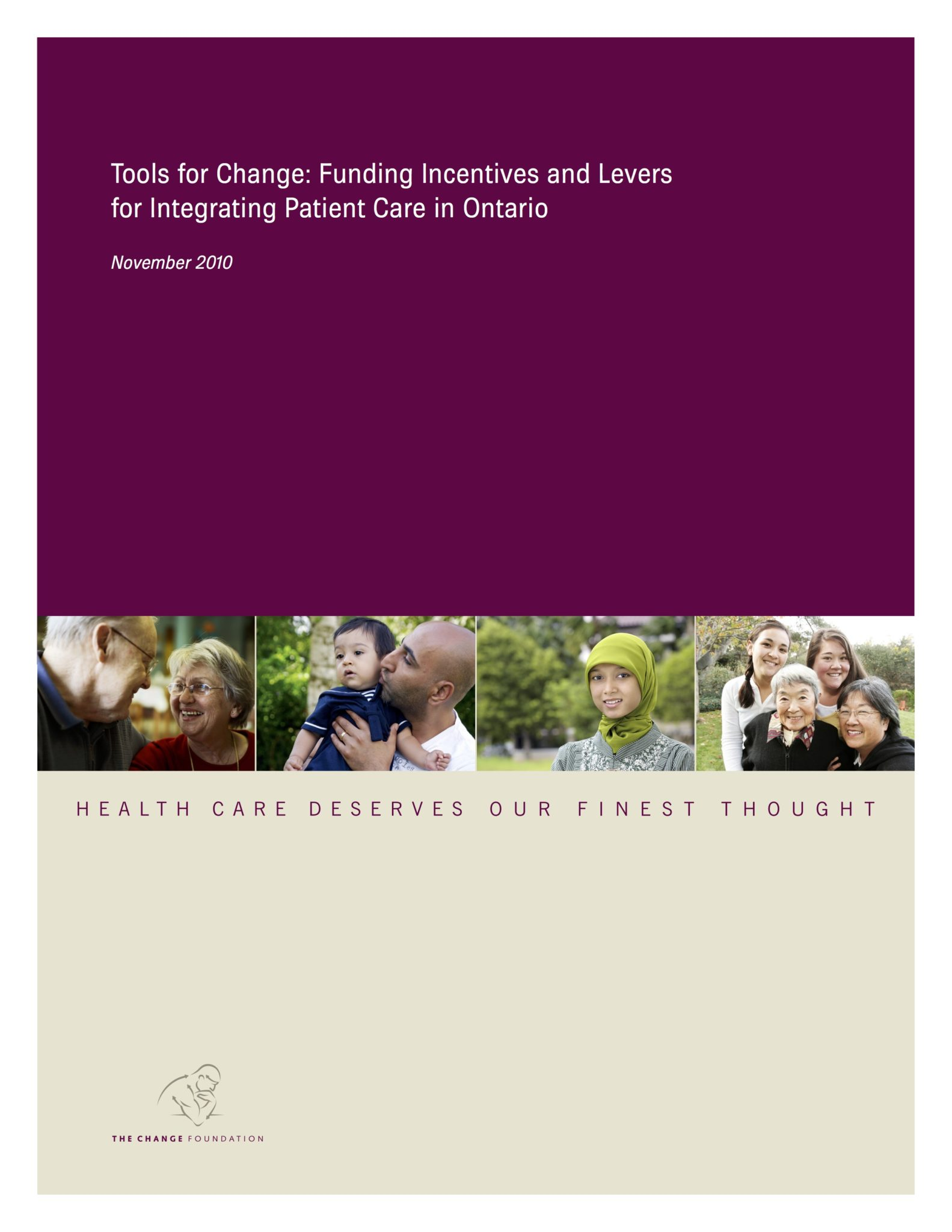 "Cover of Report: ""Tools for Change""; images of several patients and caregivers"
