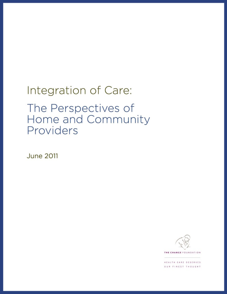 Cover Page of Report: Integration of Care